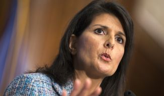 South Carolina Gov. Nikki Haley speaks at the National Press Club in Washington on Sept. 2, 2015. (Associated Press) **FILE**