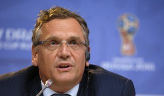 In this Friday, July 24, 2015, file photo, FIFA Secretary General Jerome Valcke attends a press conference near Constantine (Konstantinovsky) Palace in St. Petersburg, Russia, on the eve of the Preliminary draw for the 2018 World Cup in Russia. FIFA said Wednesday, Jan. 13, 2016, that Valcke was dismissed. (AP Photo/Dmitry Lovetsky, File)