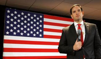 Republican presidential candidate Sen. Marco Rubio and his super PACs are spending $5.1 million for 7,000 ads scheduled to run this month in Iowa. (Associated Press)