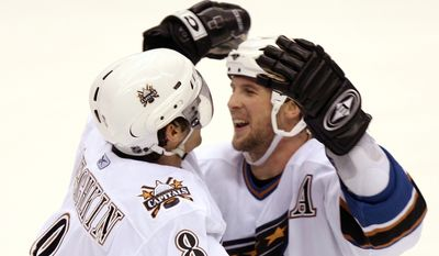Washington Capitals left winger Alex Ovechkin, left, of Russia, is congratulated by teammate Brendan Witt, right, after Ovechkin scored against the Phoenix Coyotes in the third period of NHL action Monday, Jan. 16, 2006, in Glendale, Ariz. The Capitals defeated the Coyotes 6-1.(AP Photo/Paul Connors)