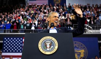 President Barack Obama speaks at Baxter Arena in Omaha, Neb., on Jan. 13, 2016.  Stressing themes from his State of the Union address, Obama on Wednesday urged the country to respond to economic and other societal changes with confidence instead of fear. (Francis Gardler/The Journal-Star via AP)