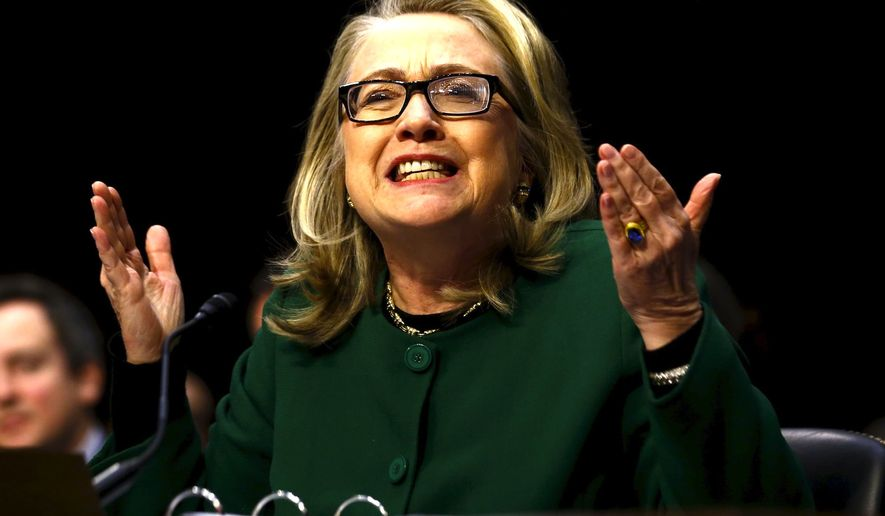 A topic big broadcasters still avoid: Hillary Clinton's role in the Benghazi terror attacks. She is seen here testifying before the U.S.  Senate in 2013. (AP Photo)