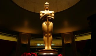 This Feb. 21, 2015, file photo shows an Oscar statue as preparations are made for the 87th Academy Awards in Los Angeles. The 88th Academy Awards nominations will be announced on Thursday, Jan. 14, 2016, at 5:30 a.m. PST in the Academy's Samuel Goldwyn Theater in Beverly Hills, Calif. The Oscars will be presented on Feb. 28, 2016, in Los Angeles. (Photo by Matt Sayles/Invision/AP, File)