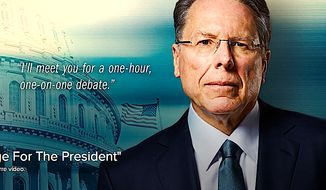 NRA chief Wayne LaPierre has asked President Obama to join him in a one-on-one debate about gun control in a new video. (Image from NRA video)