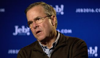 "In this photo taken Jan. 12, 2016, Republican presidential candidate, former Florida Gov. Jeb Bush speaks during an interview with The Associated Press in Coralville, Iowa. Political groups are flooding the airways during popular game shows, including ""Wheel of Fortune"" and ""Jeopardy!"" as well as local news and network morning shows as they try to influence presidential primary voters, according to an analysis by The Associated Press. (AP Photo/Jae C. Hong)"