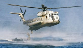 In this Feb. 18, 2003, file photo, U.S. Marines and their Philippine counterparts jump from a US Marines CH-53D Sea Stallion helicopter at Ternate in Cavite province south of Manila. The U.S. Coast Guard says two similar Marine helicopters have collided off the Hawaiian island of Oahu, Friday, Jan. 15, 2016. (AP Photo/Bullit Marquez, File) ** FILE **