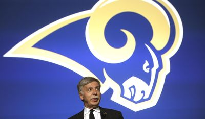 Stan Kroenke, owner of the St. Louis Rams, speaks during a news conference at the Forum in Inglewood, Calif., on Friday, Jan. 15, 2016, near the site of the team's future stadium. Kroenke and coach Jeff Fisher spoke about the return of the Rams to the Los Angeles area. (AP Photo/Nick Ut)