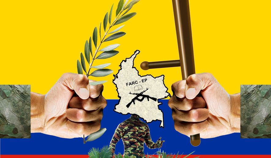 Illustration on the Colombian government's efforts against the FARC by Alexander Hunter/The Washington Times