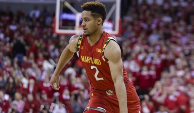 Maryland's Melo Trimble (2) during the first half of an NCAA college basketball game against Wisconsin Saturday, Jan. 9, 2016, in Madison, Wis. (AP Photo/Andy Manis)