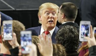 Republican Presidential candidate Donald Trump greets supporters after giving a speech at Liberty University in Lynchburg, Va., Monday, Jan. 18, 2016. (AP Photo/Steve Helber)