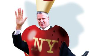 Illustration on New York values embodied by Mayor Bill DeBlasio by Alexander Hunter/The Washington Times