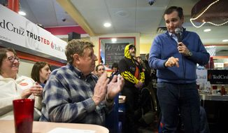Republican presidential candidate, Sen. Ted Cruz, R-Texas, speaks during a campaign stop, Monday, Jan. 18, 2016, in Tilton, N.H. (AP Photo/Matt Rourke)