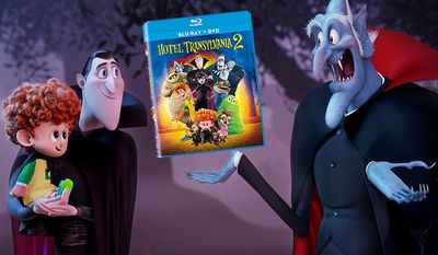 "Dracula shows off his grandson Dennis to his father Vlad in ""Hotel Transylvania 2,"" now available on Blu-ray from Sony Pictures Home Entertainment."