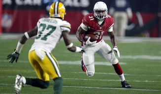 Arizona Cardinals running back David Johnson (31) during an NFL divisional playoff football game against the Green Bay Packers, Saturday, Jan. 16, 2016, in Glendale, Ariz. (AP Photo/Rick Scuteri)