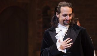 """In a Thursday, Aug. 6, 2015, file photo, Lin-Manuel Miranda appears at the curtain call following the opening night performance of """"Hamilton"""" at the Richard Rodgers Theatre, in New York. (Photo by Charles Sykes/Invision/AP, File)"""