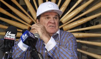 FILE - In this Dec. 15, 2015, file photo, former baseball player and manager Pete Rose speaks at a news conference, in Las Vegas. Pete Rose is headed into the team hall of fame in his hometown, the Cincinnati Reds said Tuesday, Jan. 19, 2016. The Reds' announcement came after MLB commissioner Rob Manfred last month rejected Rose's application for reinstatement. (AP Photo/Mark J. Terrill, File)