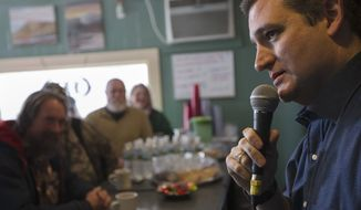 Republican presidential candidate, Sen. Ted Cruz, R-Texas speaks during a campaign stop at Lino's Restaurant, Tuesday, Jan. 19, 2016, in Sanbornville, N.H. (AP Photo/John Minchillo)