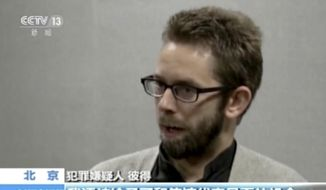 In this image made from undated video released by China Central Television (CCTV), Peter Dahlin, a Swedish co-founder of a human rights group, speaks on camera in an unknown location. (CCTV via AP Video)