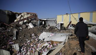 A worker walks on the rubble of a food factory destroyed by Saudi-led airstrikes in Sanaa, Yemen, Wednesday, Jan. 20, 2016. (AP Photo/Hani Mohammed)