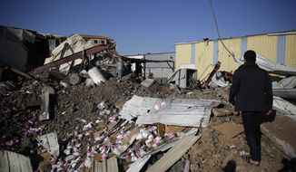 A worker walks on the rubble of a food factory destroyed by Saudi-led airstrikes in Sanaa, Yemen, Wednesday, Jan. 20, 2016. (AP Photo/Hani Mohammed) ** FILE **