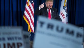 Republican presidential candidate Donald Trump gestures as he speaks during a campaign event, Wednesday, Jan. 20, 2016, in Norwalk, Iowa. (AP Photo/Evan Vucci)