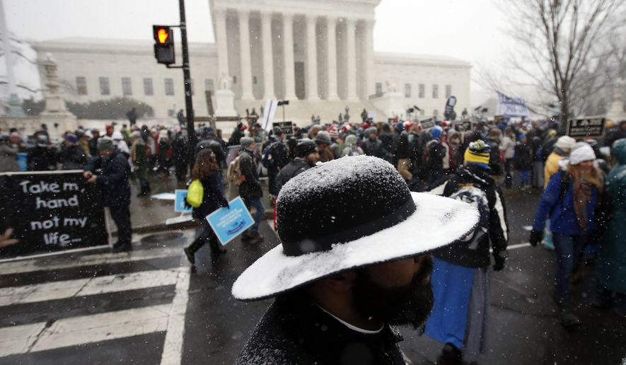 Snow covers the hat of Father Jack Soler of the New York borough of Staten Island during the March for Life 2016, in front of the U.S. Supreme Court,  Friday, Jan. 22, 2016 in Washington, during the annual rally on the anniversary of 1973 'Roe v. Wade' U.S. Supreme Court decision legalizing abortion. (AP Photo/Alex Brandon)