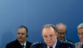 NATO's Supreme Allied Commander Europe, US Gen. Philip M. Breedlove waits for the start of a meeting of NATO's Military Committee at NATO headquarters in Brussels on Thursday, Jan. 21, 2016. In a one day meeting, NATO chiefs of defense will discuss issues of strategic importance to the Alliance ahead of the forthcoming Defense Ministers' meeting in February. (AP Photo/Virginia Mayo)