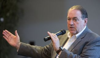 Republican presidential candidate and former Arkansas Gov. Mike Huckabee speaks during a campaign event at the Habitue Living Center in Le Mars, Iowa, on Jan. 21, 2016. (Associated Press) **FILE**