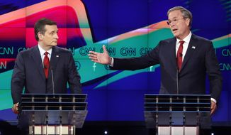 "FILE - In this Dec. 15, 2015 file photo, former Florida Gov. Jeb Bush, right, makes a point as Sen. Ted Cruz, R-Texas listens on during the Republican presidential debate in Las Vegas. Ted Cruz once proudly wore a belt buckle reading ""President of the United States"" borrowed from George H.W. Bush. He campaigned and worked for, and helped write a book lavishing praise on, that former president's son, Dubya. And the endorsement of George P. Bush, the family's latest rising political star, lent credibility to Cruz's then little-known 2012 Senate campaign. (AP Photo/John Locher, File)"
