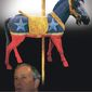 Illustration on Michael Bloomberg's real identity as a Democrat by Alexander Hunter/The Washington Times