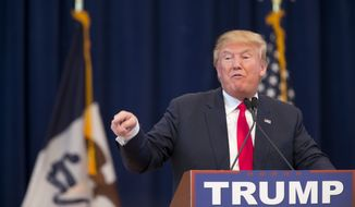 Republican presidential candidate Donald Trump speaks during a campaign event at Central College, Saturday, Jan. 23, 2016, in Pella, Iowa. (AP Photo/Mary Altaffer)