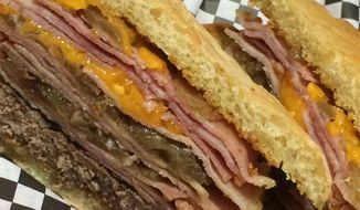 The new Trump Burger is a big seller at a historic Iowa cafe, and features a half-pound of ham. (Northside Cafe)