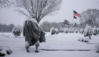 The Korean War Veterans Memorial in winter on the National Mall. (National Park Service)