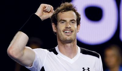 Andy Murray of Britain celebrates after defeating David Ferrer of Spain in their quarterfinal match at the Australian Open tennis championships in Melbourne, Australia, Wednesday, Jan. 27, 2016.(AP Photo/Aaron Favila)