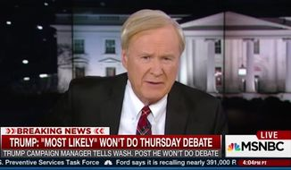 "MSNBC's ""Hardball"" host Chris Matthews questioned whether anyone will tune in to Thursday night's Fox News debate now that front-runner Donald Trump has chosen not to attend. (MSNBC)"