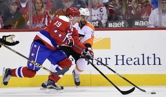 Washington Capitals center Nicklas Backstrom (19), of Sweden, battles for the puck against Philadelphia Flyers right wing Pierre-Edouard Bellemare (78) during the second period of an NHL hockey game, Wednesday, Jan. 27, 2016, in Washington. (AP Photo/Nick Wass)