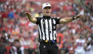 FILE - In this Sunday, Nov. 9, 2014 file photo, official Clete Blakeman calls a penalty during the first half of an NFL football game between the Tampa Bay Buccaneers and Atlanta Falcons in Tampa, Fla. The NFL announced Wednesday, Jan. 27, 2016 that eighth-year referee Clete Blakeman will work his first Super Bowl on Feb. 7 when the Carolina Panthers play the Denver Broncos at Santa Clara, California. (AP Photo/Phelan M. Ebenhack, File)