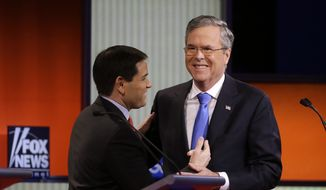 Marco Rubio and Jeb Bush laugh together after a Republican presidential primary debate, Thursday, Jan. 28, 2016, in Des Moines, Iowa. (AP Photo/Chris Carlson)