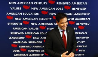 Republican presidential candidate Sen. Marco Rubio, R-Fla., speaks to reporters after a campaign event, Monday, Jan. 25, 2016 in Des Moines, Iowa. (AP Photo/Paul Sancya)
