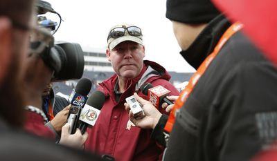 Scot McCloughan, general manager of the Washington Redskins, talks to reporrters during NCAA college football practice for the Senior Bowl, Wednesday, Jan. 27, 2016, in Mobile, Ala. (AP Photo/Brynn Anderson)
