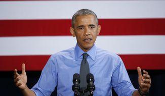 FILE - In this Jan. 20, 2016, file photo, President Barack Obama speaks in Detroit. During an interview with Politico posted on its website Monday, Jan. 25, 2016, Obama was extremely cautious in discussing the presidential campaign to avoid showing explicit favor in the Democratic race. (AP Photo/Paul Sancya, File)
