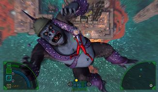A giant ape and Gravorian Princess Scarlet Nova free fall in the twin-stick shooting video game The Deadly Tower of Monsters.