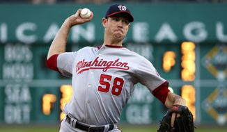 FILE - In this July 23, 2015, file photo, Washington Nationals starting pitcher Doug Fister (58) delivers in the first inning of a baseball game against the Pittsburgh Pirates in Pittsburgh. Right-hander Doug Fister and the Houston Astros have agreed to a one-year contract. The 31-year-old was 5-7 with a 4.19 ERA in 15 starts and 10 relief appearances last season for Washington.  (AP Photo/Gene Puskar, File)