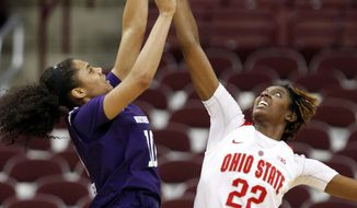 Northwestern's Nia Coffey, left, goes up to shoot against Ohio State's Alexa Hart during the second half of an NCAA college basketball game in Columbus, Ohio, Thursday, Jan. 28, 2016. Ohio State won 76-73. (AP Photo/Paul Vernon)