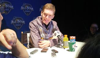 Washington Capitals center Evgeny Kuznetsov speaks to reporters during an All-Star Game press conference at Bridgestone Arena in Nashville, Tennessee on Jan. 29, 2016. Kuznetsov was added to the game on Wednesday following an unspecified lower-body injury to Capitals left wing Alex Ovechkin. (Zac Boyer/The Washington Times)