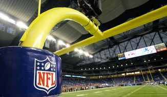 A goalpost is seen before the first half of an NFL football game between the Detroit Lions and the Denver Broncos, Sunday, Sept. 27, 2015, in Detroit. (AP Photo/Rick Osentoski)