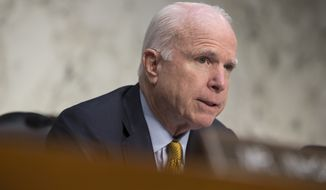 In this Sept. 22, 2015 file photo, Senate Armed Services Committee Chairman Sen. John McCain, R-Ariz. speaks on Capitol Hill in Washington. (AP Photo/Evan Vucci, File)