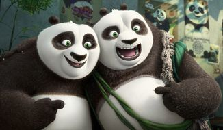 "This image released by DreamWorks Animation shows characters Po, voiced by Jack Black, left, and his long-lost panda father Li, voiced by Bryan Cranston, in a scene from ""Kung Fu Panda 3."" (DreamWorks Animation via AP)"