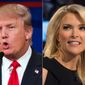 "This file photo combination made from Aug. 6, 2015, photos shows Republican presidential candidate Donald Trump, left, and Fox News Channel host and moderator Megyn Kelly during the first Republican presidential debate at the Quicken Loans Arena, in Cleveland.  Trump isn't backing down from his threat to boycott Thursday night's GOP debate.  Trump, who has called Kelly a ""lightweight"" and biased, told reporters at an Iowa press conference Wednesday night that he would be holding a fundraising event in Iowa at the same time as the debate to benefit veterans and wounded soldiers instead.  (AP Photo/John Minchillo, File)"