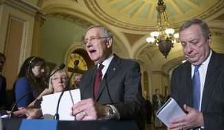 Senate Minority Leader Harry Reid, D-Nev., flanked by Minority Whip Dick Durbin, D-Ill., right, and Sen. Patty Murray, D-Wash., left, speaks with reporters at the Capitol in Washington, Wednesday, Jan. 27, 2016, as senators returned to work following the snowstorm that crippled the Mid-Atlantic region. (Associated Press) **FILE**